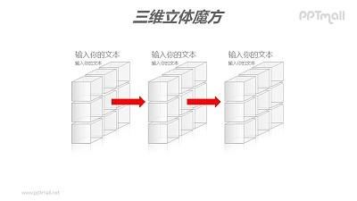 白色半透明三阶魔方分解图PPT模板素材