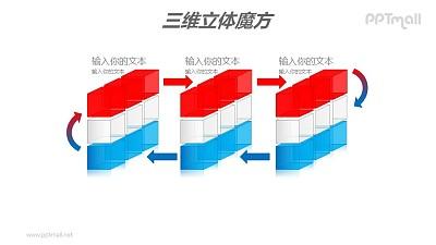 红蓝半透明三阶魔方分解图PPT模板素材
