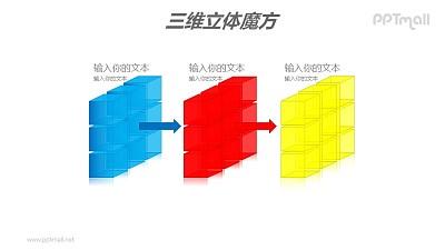 三色半透明三阶魔方分解图PPT模板素材