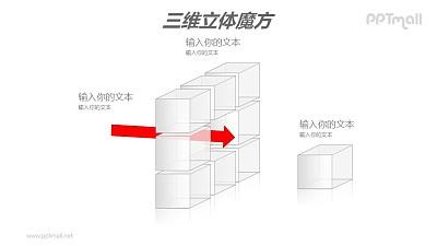 白色半透明魔方——分离的魔方结构PPT模板素材