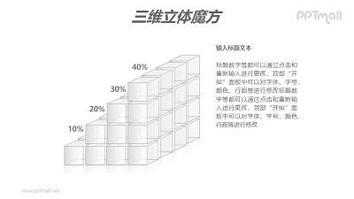 白色半透明四阶魔方分解图PPT模板素材(2)