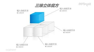 蓝色半透明三维立体魔方分解图PPT模板素材(2)