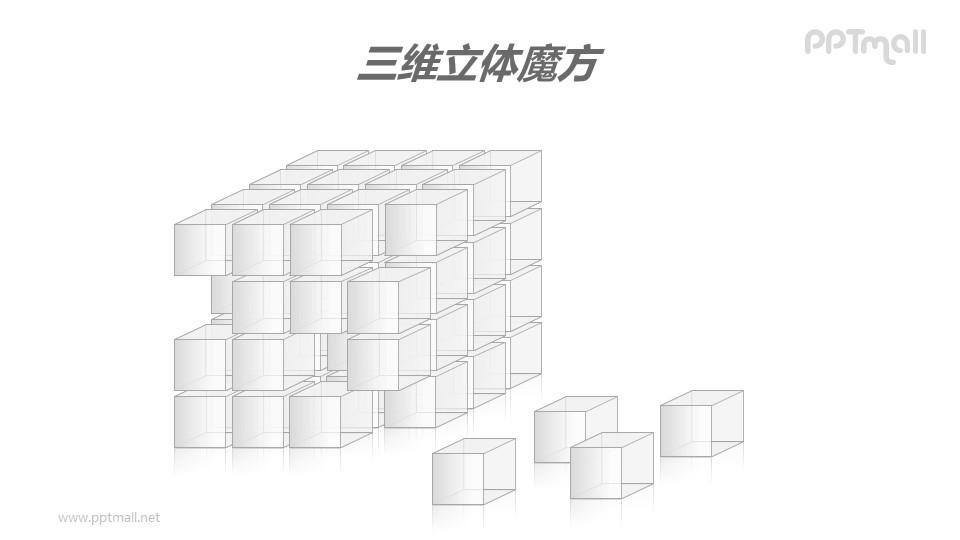 三维立体魔方——从魔方上脱落的方块PPT模板素材