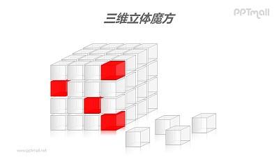 三维立体魔方——脱落的白色方块PPT模板素材