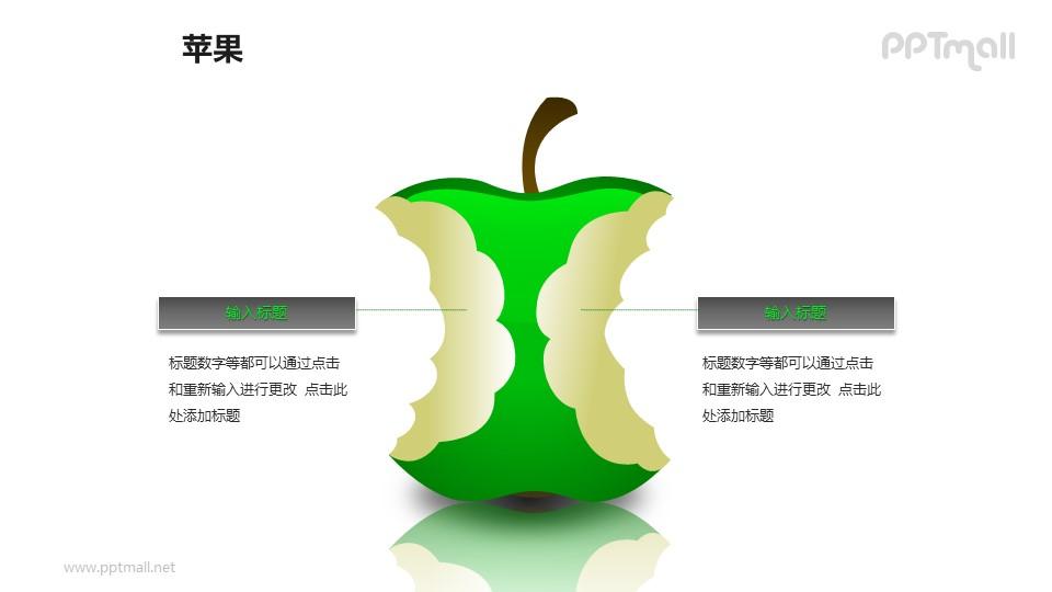 苹果——被咬掉的绿色苹果+文本框PPT模板素材_幻灯片预览图1