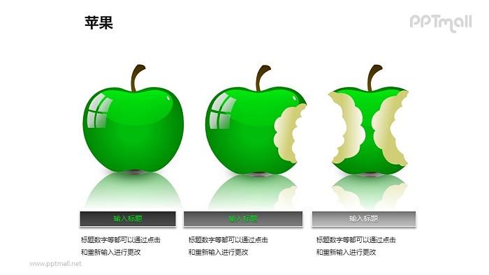 苹果——3个并列摆放的绿色苹果PPT模板素材_幻灯片预览图1