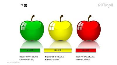 苹果——3个并列摆放的苹果PPT模板素材