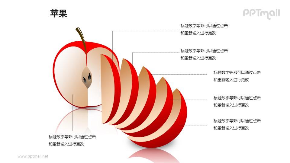 苹果——切开的红色苹果结构图PPT模板素材