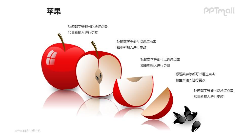苹果——切开的红色苹果PPT模板素材(1)