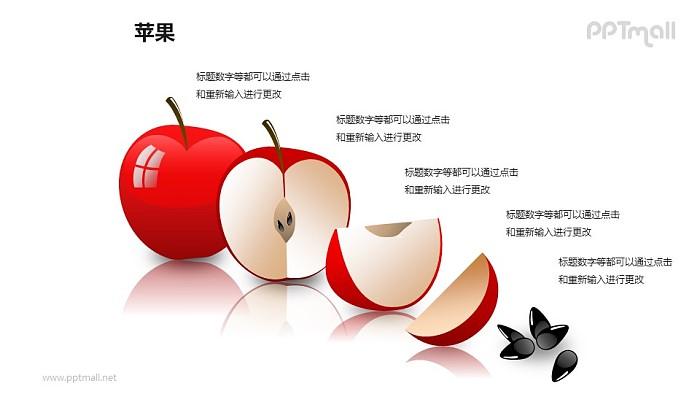 苹果——切开的红色苹果PPT模板素材(1)_幻灯片预览图1