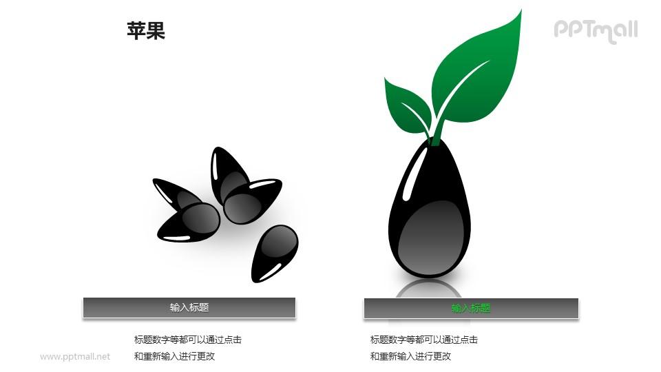 苹果——发芽的苹果籽PPT模板素材