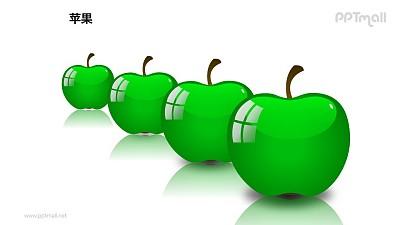 苹果——4个并列摆放的绿色苹果PPT模板素材