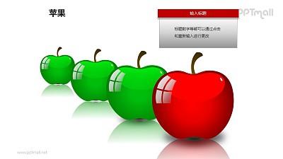 苹果——1+3并列摆放的苹果PPT模板素材