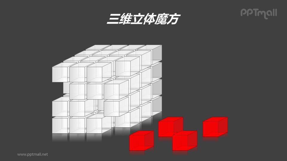 三维立体魔方——从魔方上脱落的红色方块PPT模板素材