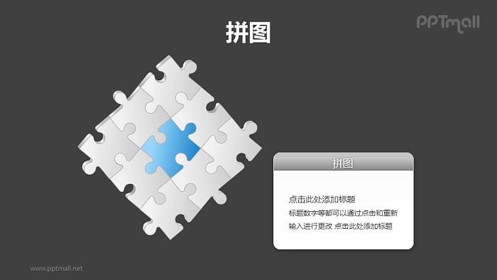 9块拼图拼成的矩阵图PPT模板素材(5)_幻灯片预览图2