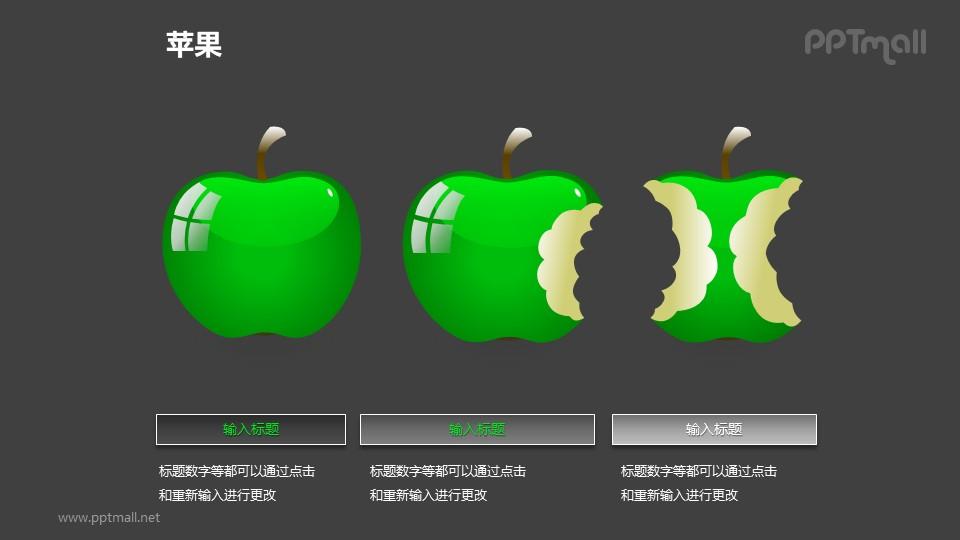 苹果——3个并列摆放的绿色苹果PPT模板素材