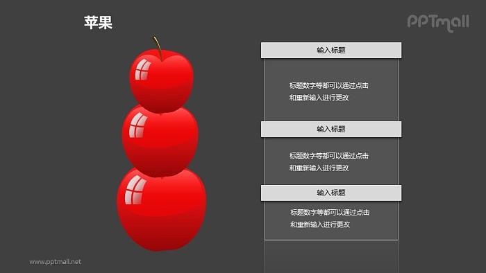 苹果——3个垂直摆放的红色苹果PPT模板素材_幻灯片预览图2