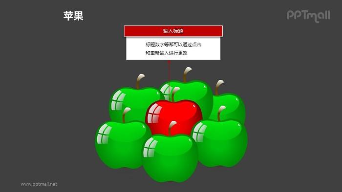苹果——1+6绿色苹果中的红色苹果PPT模板素材_幻灯片预览图2