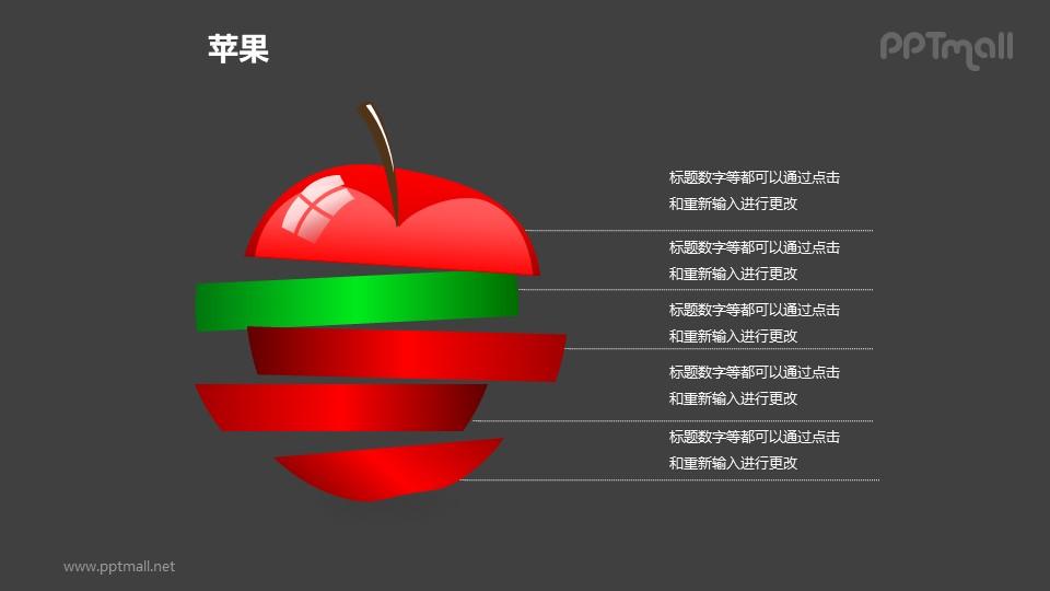 苹果——被切分的红色苹果PPT模板素材(1)