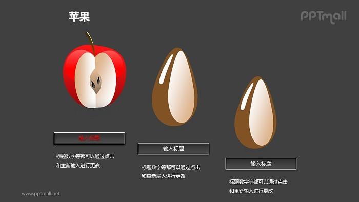 苹果——红色苹果+苹果籽PPT模板素材_幻灯片预览图2
