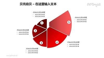 红色贝壳扇贝螺旋图PPT模板素材