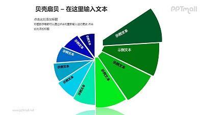 蓝绿色贝壳扇贝螺旋图PPT模板素材