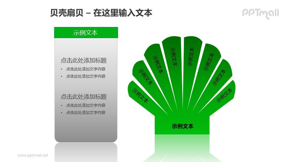 绿色扇贝+文本框PPT模板素材