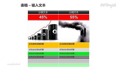 环保主题两个并列的表格PPT模板素材