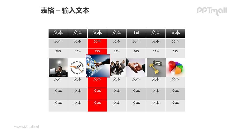 7行7列商务风格表格PPT模板素材(2)