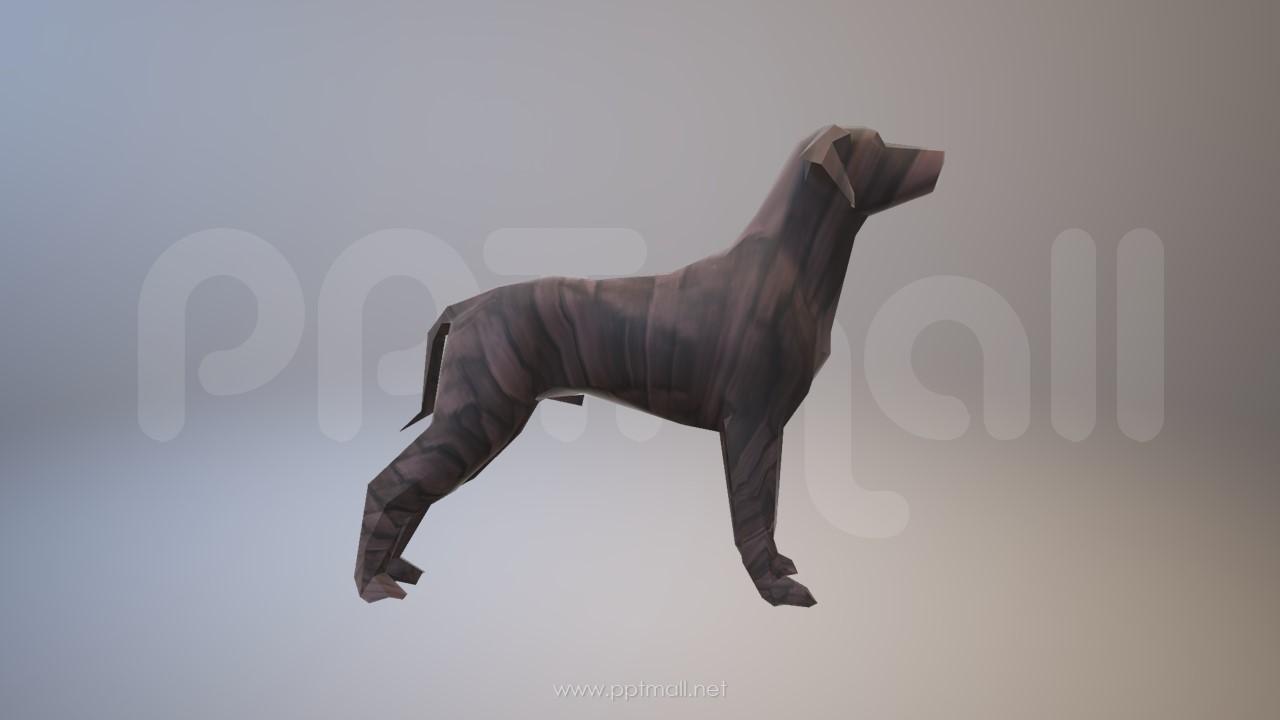 木质纹理的3D狗狗PPT模型素材