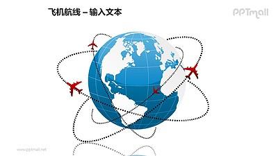 飞机航线+围绕地球飞行的飞机PPT模板素材