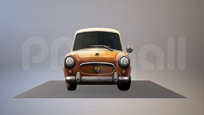 复古怀旧的mini/smart小汽车3D模型PPT素材