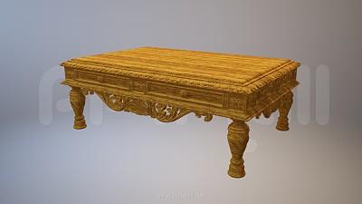 中国风木质桌子3D模型PPT素材
