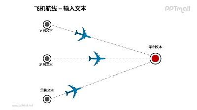3条飞机航线总分关系PPT模板素材