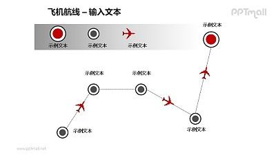 飞机航线递进关系PPT模板素材