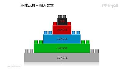 堆积成五层的积木玩具PPT模板素材