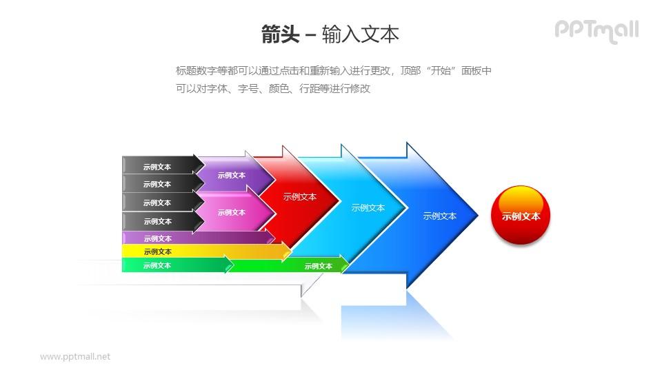 多个箭头递进关系PPT模板素材(2)