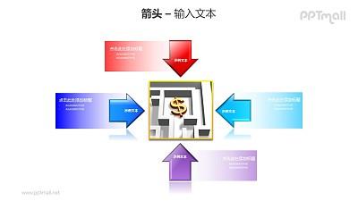 4个指向中心图片的箭头PPT模板素材