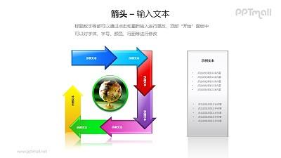 7个箭头循环关系PPT模板素材