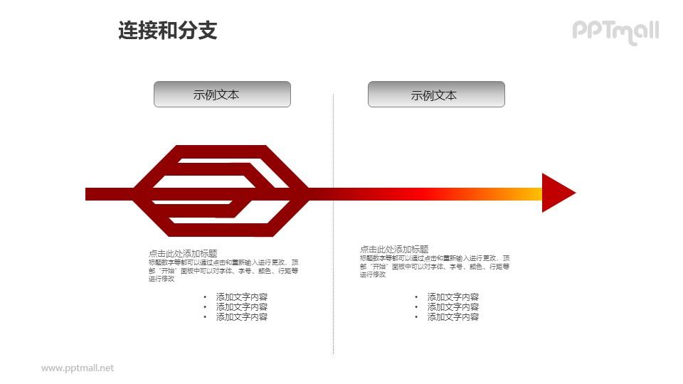 连接与分支——红色箭头两部分对比关系PPT模板素材