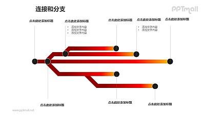 连接与分支——横向的树状结构图PPT模板素材