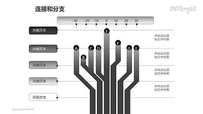 连接与分支——灰色分支对比关系PPT模板素材