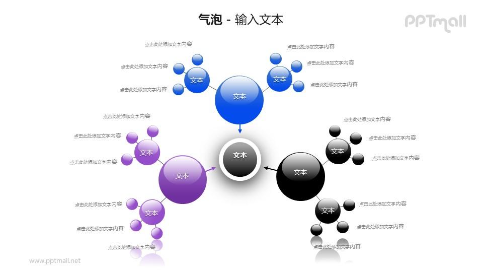 3个向中心汇集气泡团PPT模板素材