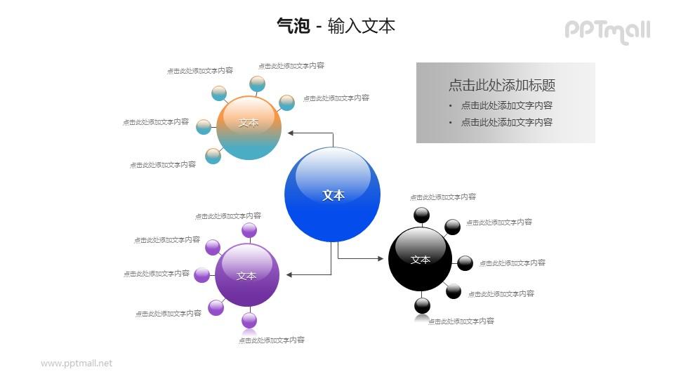 4个气泡圆球总分关系PPT模板素材