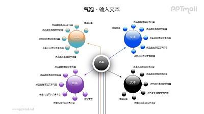 5个气泡圆球总分关系PPT模板素材(4)