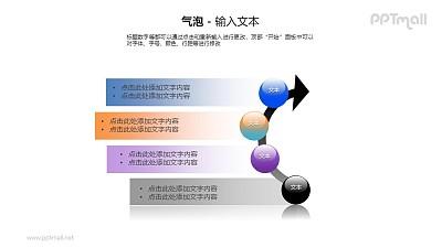 4个圆球+文本框递进关系PPT模板素材