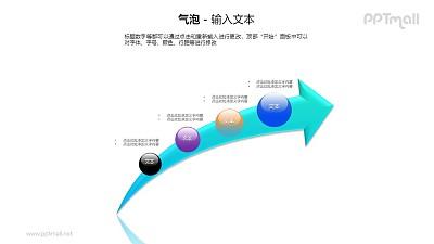 4个圆球递进关系PPT模板素材