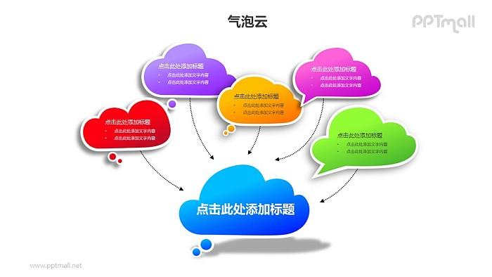 5+1彩色的气泡云汇聚关系PPT模板素材_幻灯片预览图1