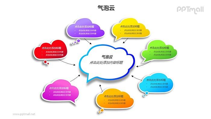 7个彩色的气泡云总分关系PPT模板素材_幻灯片预览图1