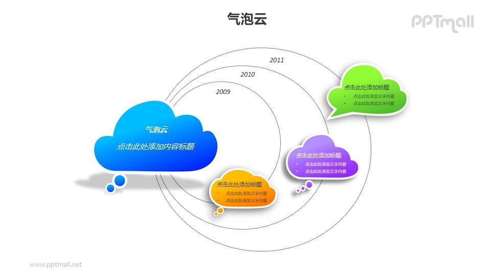 4个彩色的气泡云递进关系PPT模板素材